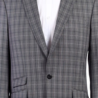 Mens Brand New Fall Debut Grey Gray Elegant Tartan Plaid 3 Piece Vested Suit - Nader Fashion Las Vegas