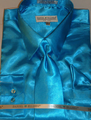 Mens Daniel Ellissa Turquoise Teal Blue High Gloss Shine Satin Dress Shirt & Tie - Nader Fashion Las Vegas