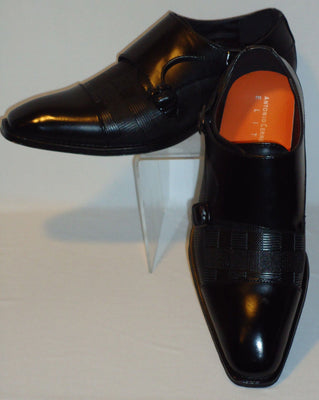 Mens Black Dress Shoes Loafers Elegant Double Buckle Antonio Cerrelli 6670 - Nader Fashion Las Vegas