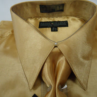 Mens Daniel Ellissa Elegant Gold Shiny Silky Satin Formal Dress Shirt Tie Hanky - Nader Fashion Las Vegas
