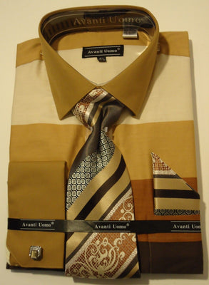 Mens Cool Shades of Brown French Cuff Dress Shirt + Lovely Tie Set Avanti DN67M - Nader Fashion Las Vegas