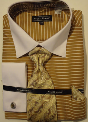 Mens Sophisticated Tan Horizontal Stripe French Cuff Dress Shirt Avanti DN55M - Nader Fashion Las Vegas