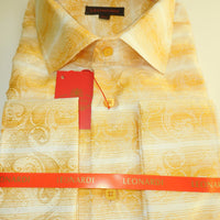 Mens Cream & Yellow Gold Paisley Swirl French Cuff Leonardi Shirt Style 429 - Nader Fashion Las Vegas