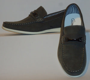 Mens Stylish Casual Loafers Soft Touch & Feel Gray w/ Contrast Sole Cody2-Grey - Nader Fashion Las Vegas