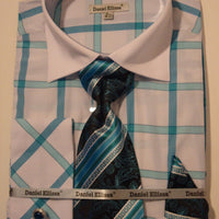Mens Teal Big Plaid Cuffed Dress Shirt + Tie White Collar Daniel Ellissa DS3768 - Nader Fashion Las Vegas