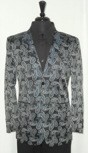 Mens Leonardi Black & Silver Paisley Entertainer Blazer Dinner Jacket Style 800 - Nader Fashion Las Vegas