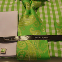 Mens Lime Green White Gingham Spread Collar Cuffed Dress Shirt Avanti DN46M - Nader Fashion Las Vegas