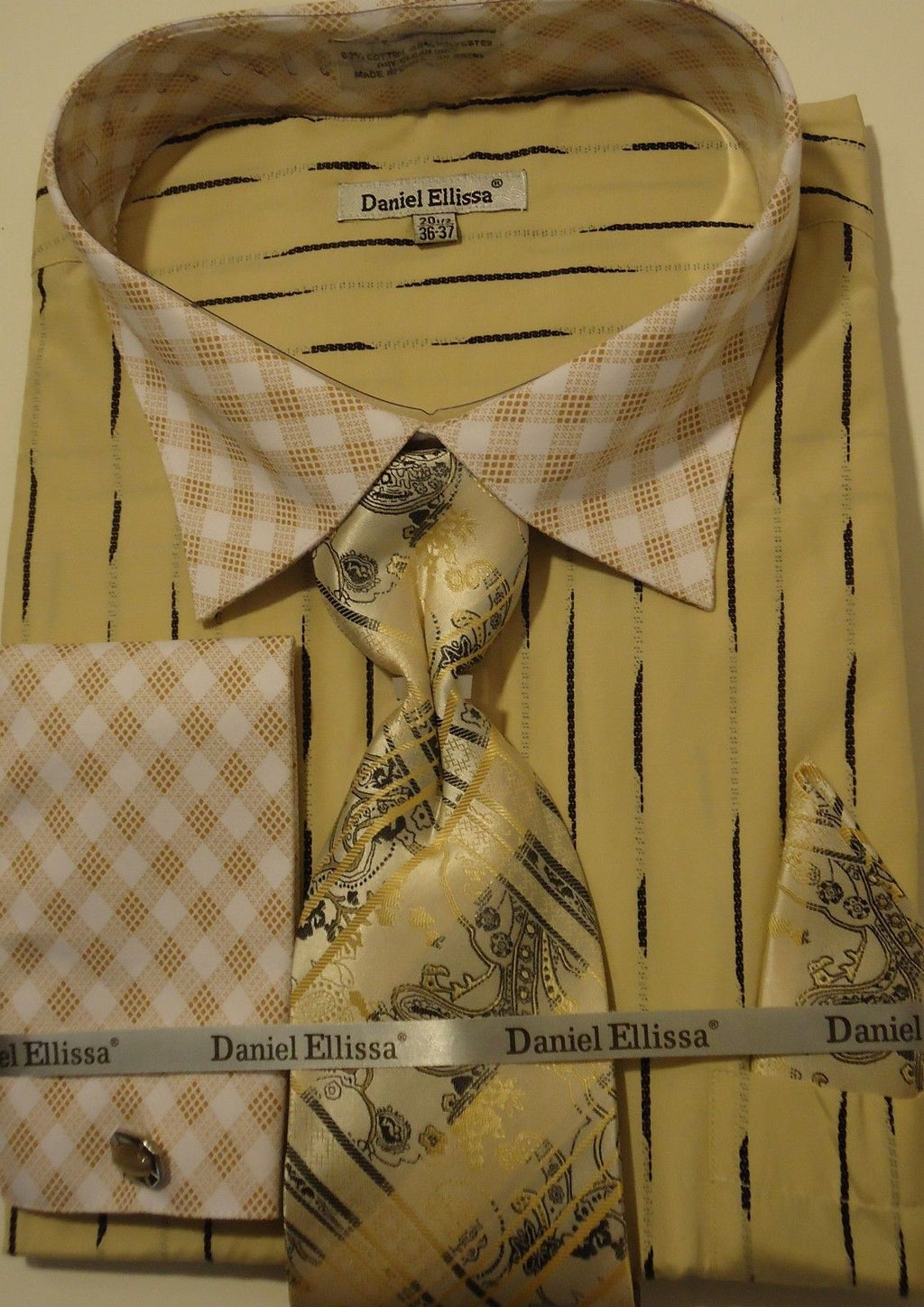 Mens Beige Abstract Pattern Contrast Collar FC Dress Shirt Daniel Ellissa DS3777 - Nader Fashion Las Vegas