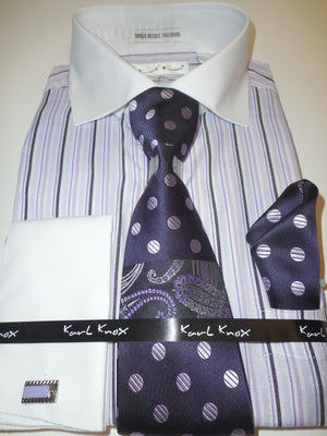 Mens Purple Lavender Striped Dress Shirt White French Cuff