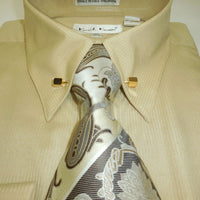 Mens Elegant Beige Tan Fancy Eyelet Cuffed Dress Shirt + Tie Karl Knox 4376 - Nader Fashion Las Vegas