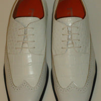 Mens Classic White Wingtip Oxford Fashion Dress Shoes Antonio Cerrelli 6714 - Nader Fashion Las Vegas