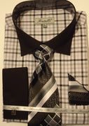 Mens Black Checks with Black French Cuff + Collar Dress Shirt Fratello FRV4114 - Nader Fashion Las Vegas