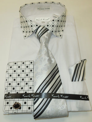 Mens White Geometric French Cuff Dress Shirt Gorgeous Paisley Tie Karl Knox 4353