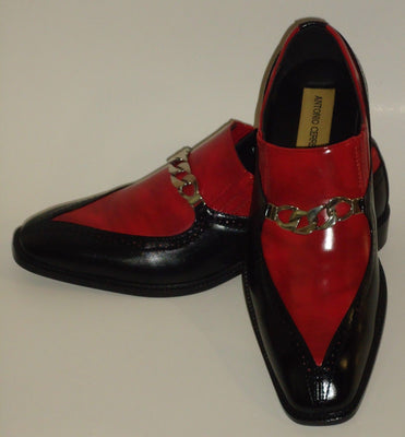 Mens Sharp Black Red Two Tone Dress Loafers Shoes Antonio Cerrelli 6710 - Nader Fashion Las Vegas