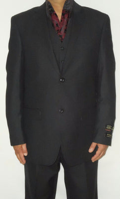 Mens Classy Black Tiny Check Vested 3 Piece Modern Fit Suit Non Pleated Pants - Nader Fashion Las Vegas