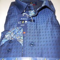 Mens Beautiful Navy Black w/Cool Patterned Cuff Modern Fit Shirt Azaro Uomo M31 - Nader Fashion Las Vegas