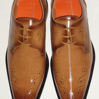 Mens Light Brown Scotch Perforated Detail Dress Shoes Antonio Cerrelli 6712 - Nader Fashion Las Vegas