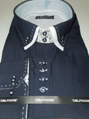 Mens Navy Blue New Edition Shirt Floral Lined Collar & Cuff Del Fiore 07/01 - Nader Fashion Las Vegas