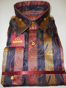 Mens Robust Orange Black Purple Paisley High Collar Cuffed Shirt SANGI 1042 - Nader Fashion Las Vegas