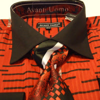 Mens Awesome Bright Red Black Collar French Cuff Dress Shirt + Tie Avanti DN63M - Nader Fashion Las Vegas