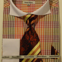 Mens Red Multi Color Check Pattern French Cuff Shirt Daniel Ellissa DS3760 - Nader Fashion Las Vegas