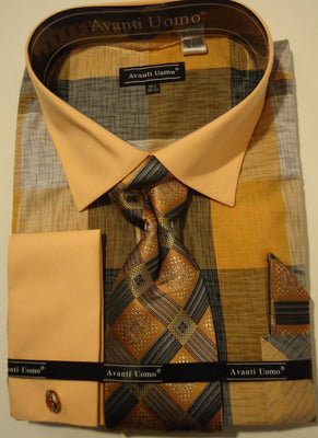 Mens Peach Bold Checkerboard French Cuff Dress Shirt + Tie Set Avanti DN65M - Nader Fashion Las Vegas