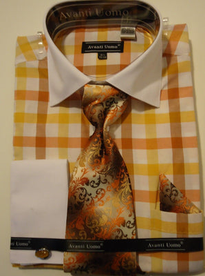 Mens Gold Yellow Big Plaid Dress Shirt w/ White Cuff Collar Avanti DN58M - Nader Fashion Las Vegas
