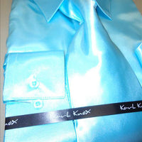 Mens Karl Knox Shiny Aqua Teal Turquoise Satin Formal Dress Shirt Tie & Hanky - Nader Fashion Las Vegas