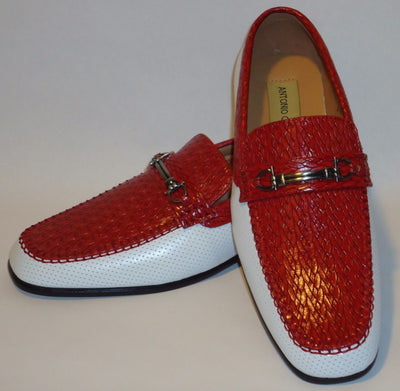 Mens New Design Red White Textured Dress Loafers Shoes Antonio Cerrelli 6685 - Nader Fashion Las Vegas