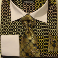 Mens Black Gold French Cuff Dress Shirt Set w/ Bright White Collar Avanti DN61M - Nader Fashion Las Vegas