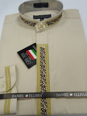 Mens Khaki Tan w/ Gold Brown Thread Collarless Banded No Collar Shirt DS3111C - Nader Fashion Las Vegas