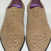 Mens Beige Taupe Velvety Faux Suede Dress Shoes Lovely Neutral Color AM6576 - Nader Fashion Las Vegas
