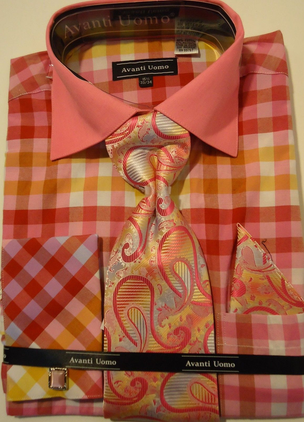 Mens Fuschia Coral Big Plaid French Cuff Dress Shirt + Paisley Tie Avanti DN60M - Nader Fashion Las Vegas