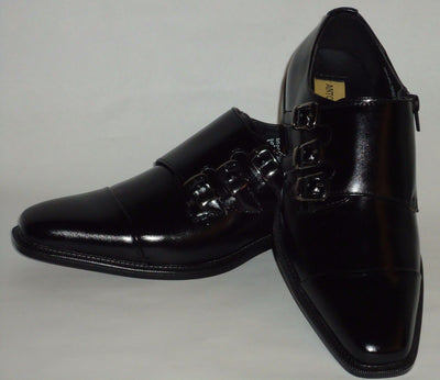 Mens Black Triple Monk Strap Zippered Dress Shoe Loafers Antonio Cerrelli 6679 - Nader Fashion Las Vegas