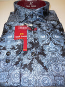 Mens Dark Blue Artistic Concept Modern Fit Clubbing Shirt Suslo Couture M14 - Nader Fashion Las Vegas