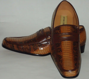 Mens Brown  Elegant Exotic Snake Look Dressy Loafers Shoes Antonio Cerrelli 6494 - Nader Fashion Las Vegas