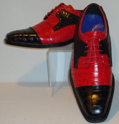 Mens Cool New Fashion Shoes Black & Hot Red Croco Texture Roberto Chillini 6613 - Nader Fashion Las Vegas
