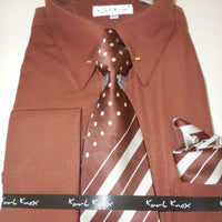 Mens Russet Brown Fancy Eyelet Collar Bar French Cuff Dress Shirt & Tie Set 4352 - Nader Fashion Las Vegas