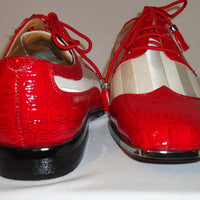 Mens Red Croco Look & White Satin Fancy Dress Shoes Metal Tip Expressions 6345 - Nader Fashion Las Vegas