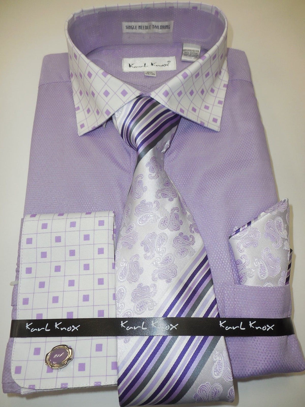 Mens Lavender Lilac Geometric French Cuff Dress Shirt Paisley Tie Karl Knox 4353 - Nader Fashion Las Vegas