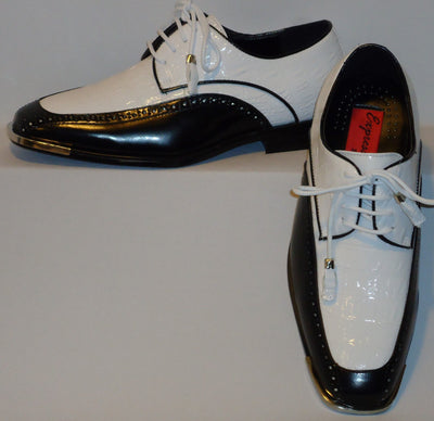 Mens Bold Black & White Shoes w/ Perforated Details & Sivertip Expressions 6544 - Nader Fashion Las Vegas
