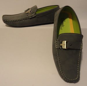 Mens Loafers w/ Nice Silver Buckle Soft Suede-Look and Feel Cool Grey Moc5-Gray - Nader Fashion Las Vegas