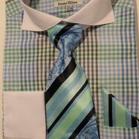 Mens Cool Blues Tiny Check F/C Dress Shirt w/ Awesome Tie Daniel Ellissa DS3760 - Nader Fashion Las Vegas