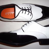 Mens Cool Retro Style Black & White Wing Tip Dress Shoes Antonio Cerrelli 6680 - Nader Fashion Las Vegas