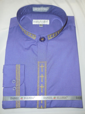 Mens Mandarin Collarless No Collar Purple Dress Shirt with Cross Design DS2005C - Nader Fashion Las Vegas