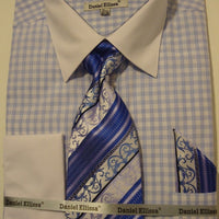 Mens Blue White Plaid French Cuff Dress Shirt White Collar Daniel Ellissa DS3762 - Nader Fashion Las Vegas