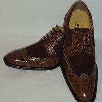 Mens Deep Brown Suede Look Two Tone Wing Tip Dress Shoes Liberty LS747 - Nader Fashion Las Vegas