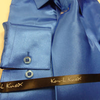 Mens Karl Knox Shiny Bright Royal Blue Silky Satin Formal Dress Shirt Tie Hanky - Nader Fashion Las Vegas
