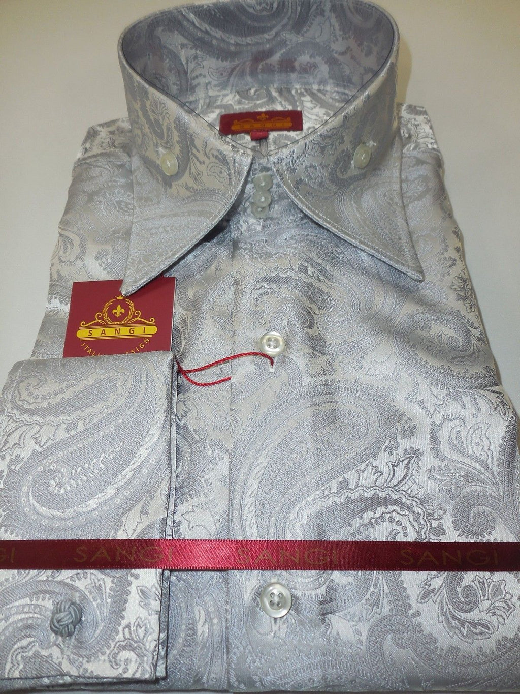 Mens Platinum Gray Magnificent Paisley High Collar French Cuff Shirt SANGI 1015 - Nader Fashion Las Vegas