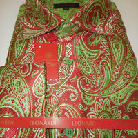 Mens Red Green Paisley Labyrinth Spread Collar Cuffed Leonardi Shirt Style 404 - Nader Fashion Las Vegas